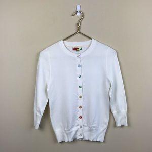 ModCloth Fervour Rainbow Button White Cardigan M